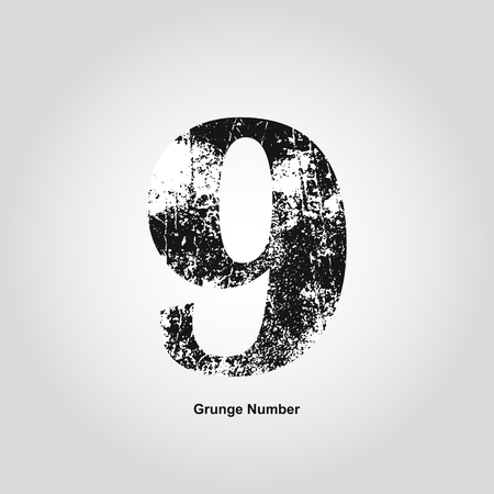 numerology: Grunge number Nine. Distress damaged object. Vector illustration. Math objects Illustration