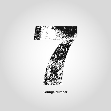 numerology: Grunge number Seven. Distress damaged object. Vector illustration. Math objects Illustration