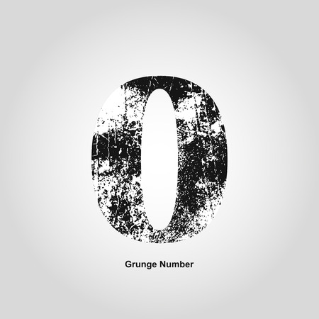 numerology: Grunge number Zero. Distress damaged object. Vector illustration. Math objects