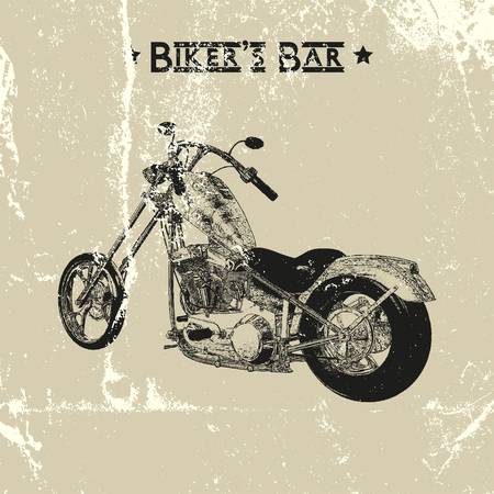 backkground: Hand drawn vintage motorcycle silhouette, distressed texture, runge backkground.