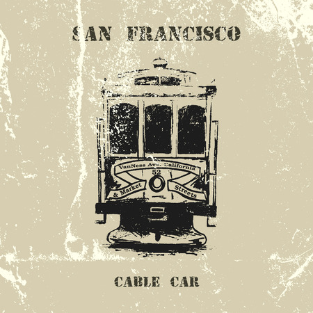 tramcar: Vintage vector hand drawn San Francisco cable car. Illustration