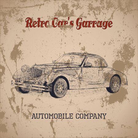 backkground: Hand drawn vintage retro car silhouette, distressed texture, grunge backkground.