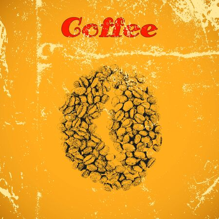 coffee beans isolated: Hand drawn vintage coffee beans isolated on yellow distressed grunge background. Illustration