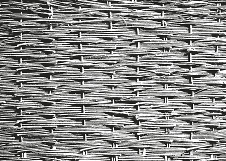 rattan: Distressed overlay wooden rattan and bamboo texture, grunge vector background. Illustration