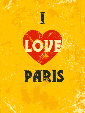 i love paris: Quote with words I Love Paris. Vector typography poster design concept