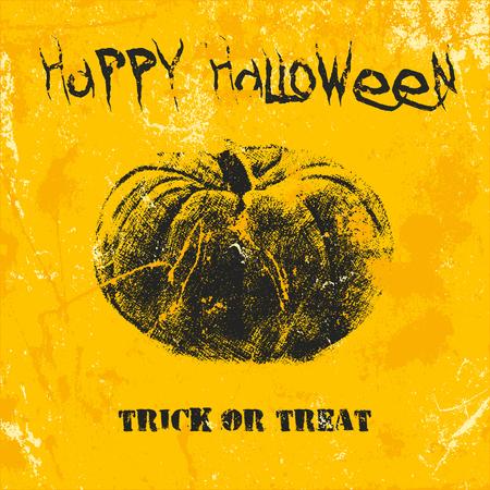 Scary Halloween pumpkin im grunge style. Happy Halloween, trick or treat distressed text