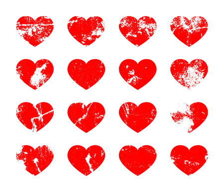 Set of distressed hearts in grunge style. Vector illustration