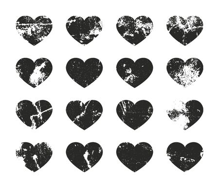Set of grunge hearts. Retro frames for emblems. Vector vintage distressed stamp.