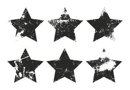 Set of grunge star labels. Retro frames for emblems . Vector vintage distressed stamp. Vettoriali