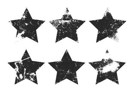 Set of grunge star labels. Retro frames for emblems . Vector vintage distressed stamp.