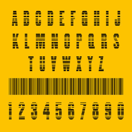 scanning: Stylish barcode typeface font. Stripped letters of barcode scanning. Custom font. Vector illustration