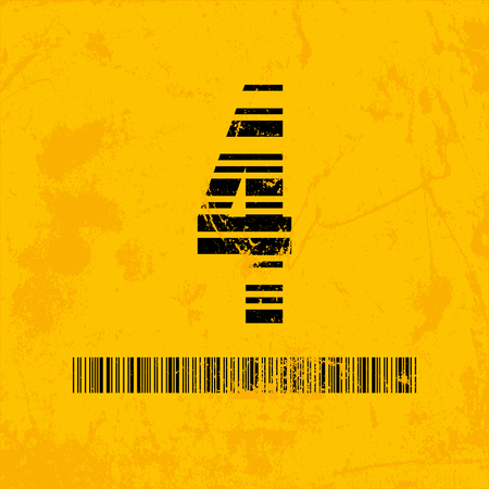 barcode scanning: Stylish barcode typeface number four. Stripped letters of barcode scanning. Custom font. Vector illustration
