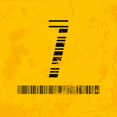 scanning: Stylish barcode typeface number seven. Stripped letters of barcode scanning. Custom font. Vector illustration