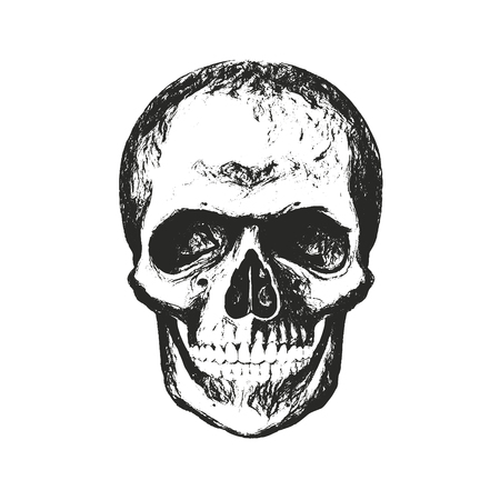 Vintage hand drawn skull in grunge style. Distressed texture. Illustration