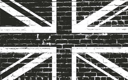Distressed overlay texture of old brickwork with Great Britain flag, grunge background. abstract halftone vector illustration.