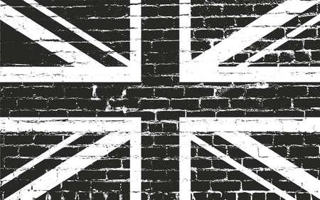 Verontruste overlay textuur van oude metselwerk met Groot-Brittannië vlag, grunge achtergrond. abstract halftone vector illustratie.