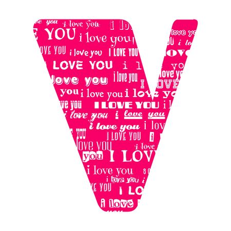 Romantic decorative vector pink letter filled white words I love you.