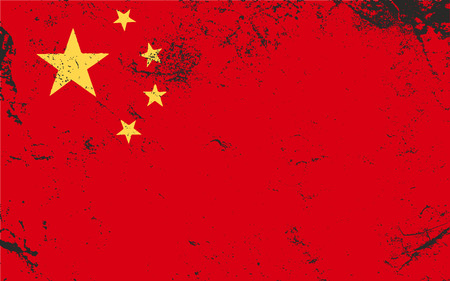 China grunge flag. Distressed texture