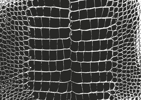 Distressed Overlay Textur von Krokodil oder Schlangenleder, Grunge-Vektor-Hintergrund.