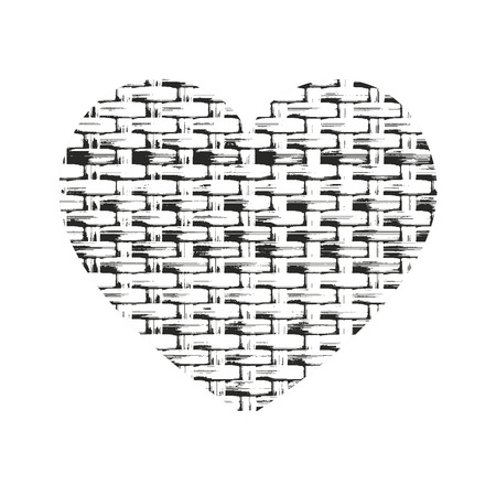 weaving: Grunge heart silhouette vector illustration. Weaving fabric and knitted texture.
