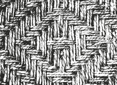 wickerwork: Distressed overlay texture of weaving bamboo, abstract halftone vector illustration