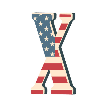 Capital 3d letter X with american flag texture isolated on white background. Vector illustration. Element for design. Kids alphabet. USA flag patriotic font.