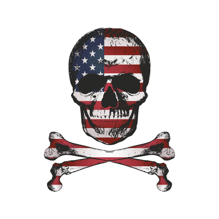 Vintage hand drawn skull in grunge style with USA flag texture. Distressed vector illustration. Elements for design.