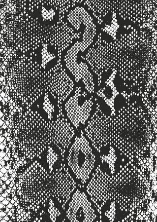 Verontruste bekledingstextuur van krokodil of slanghuidleer, grunge vectorachtergrond. Stock Illustratie