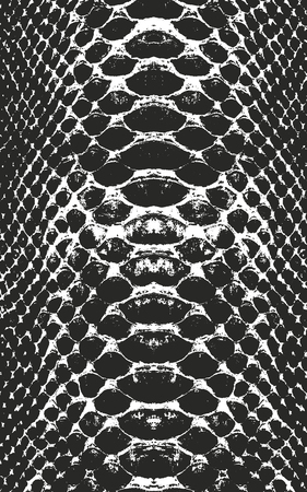 Distressed overlay texture of crocodile or snake skin leather, grunge vector background. Archivio Fotografico - 100850834
