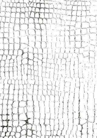 Distressed overlay texture of crocodile or snake skin leather, grunge vector background. Archivio Fotografico - 103280002