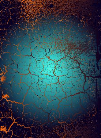 Abstract vector cosmic psychedelic dark blue golden gradient background. Fractal shiny elements. Particle compounds. Vektoros illusztráció