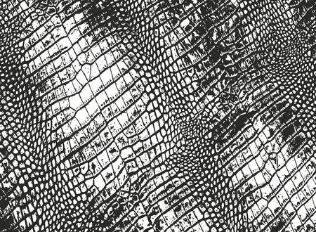 Distressed overlay texture of crocodile or snake skin leather, grunge vector background. Archivio Fotografico - 126132294