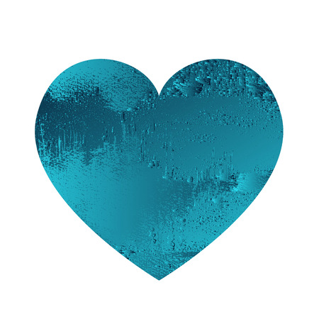 Turquoise heart with gradient and abstract texture isotated on white background