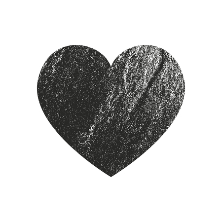 Isolated distress grunge heart with concrete texture. Element for greeting card, Valentine s Day, wedding. Creative concept. Vector illustration