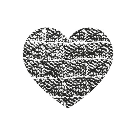 Isolated distress grunge heart with fabric texture. Element for greeting card, Valentine s Day, wedding. Creative concept. Vector illustration Illustration
