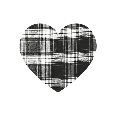Isolated distress grunge heart with weaving fabric texture. Element for greeting card, Valentine s Day, wedding. Creative concept. Vector illustration