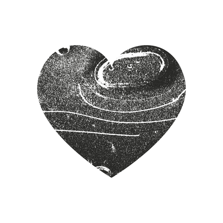 Isolated distress grunge heart with metal texture. Element for greeting card, Valentine s Day, wedding. Creative concept. Vector illustration