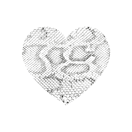 Isolated distress grunge heart with snake skin texture. Element for greeting card, Valentine s Day, wedding. Creative concept. Vector illustration