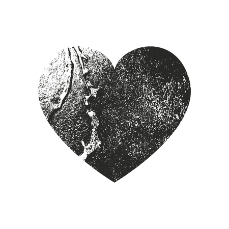 Isolated distress grunge heart with metak texture. Element for greeting card, Valentine s Day, wedding. Creative concept. Vector illustration