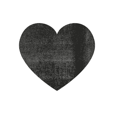 Isolated distress grunge heart with fabric texture. Element for greeting card, Valentine s Day, wedding. Creative concept. Vector illustration Stock Illustratie