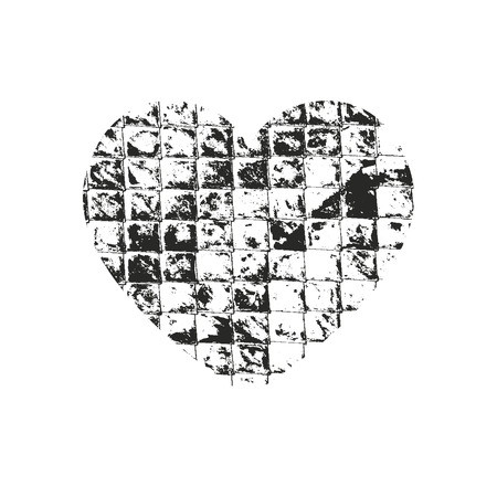 Isolated distress grunge heart with brick texture. Element for greeting card, Valentine s Day, wedding. Creative concept. Vector illustration