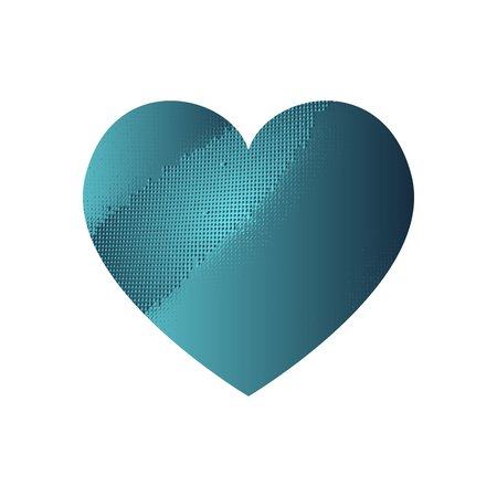 Turquoise heart with gradient and abstract texture isotated on white background. Element for greeting card, Valentines Day, wedding. Creative concept. Vector illustration