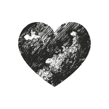 Isolated distress grunge heart with wooden texture. Element for greeting card, Valentine s Day, wedding. Creative concept. Vector illustration