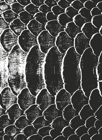 Beunruhigte Overlay-Textur aus Krokodil- oder Schlangenhautleder, Grunge-Hintergrund. abstrakte Halbton-Vektor-Illustration Vektorgrafik