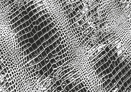 Texture sovrapposta in difficoltà di pelle di coccodrillo o serpente, sfondo grunge. illustrazione vettoriale astratta mezzitoni abstract