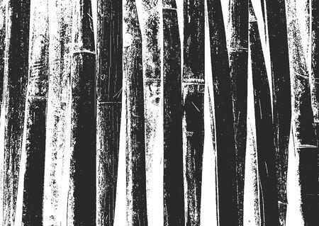 Distressed overlay bamboo plank texture, grunge background. abstract halftone vector illustration Ilustração