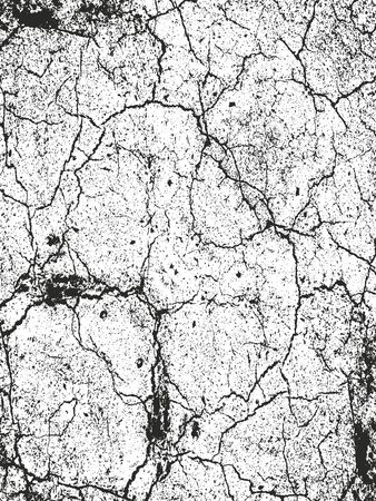 Distressed overlay texture of cracked concrete, stone or asphalt. grunge background. abstract halftone vector illustration Vetores