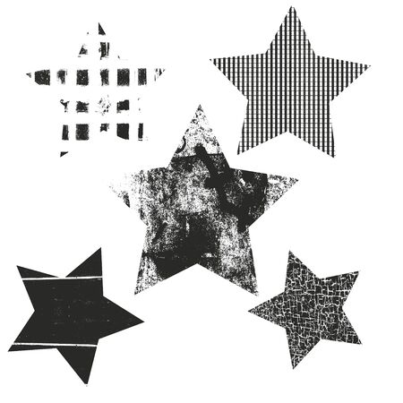 Vector set of Christmas stars. Stars with different grunge textures.