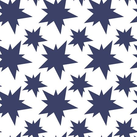 Seamless pattern with blue stars. Monochrome Background