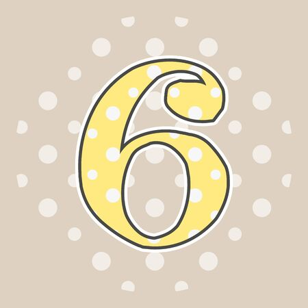 Cute dotted number six isolated on beige background. Vector illustration. Element for design. Kids alphabet.